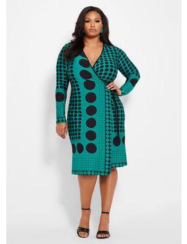 Mix Media Dot Print Wrap Dress by Ashley Stewart