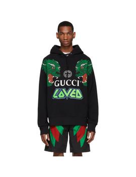 Black 'loved' Tigers Hoodie by Gucci