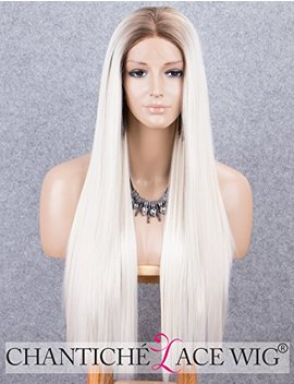 Chantiche Platinum Blonde Lace Front Wig Long Natural Straight Ombre Synthetic Wig With Brown Roots Heat Resistant Lace Wigs For Women by Chantiche Lace Wig