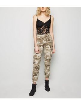 Stone Camo Print Utility Cargo Trousers by New Look