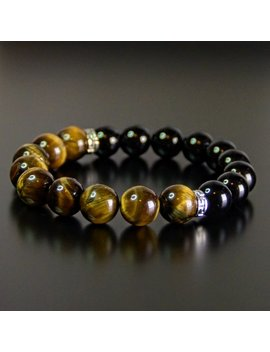 Tiger Eye & Black Obsidian Double Protection Bead Bracelet For Men And Women 10mm by Etsy