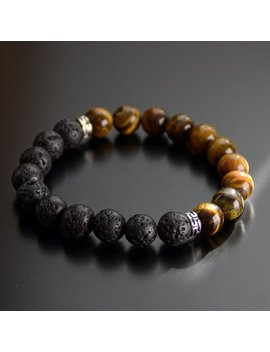 Tiger Eye & Lava Rock Essential Oil Diffuser Bead Bracelet For Men And Women 10mm 8mm by Etsy