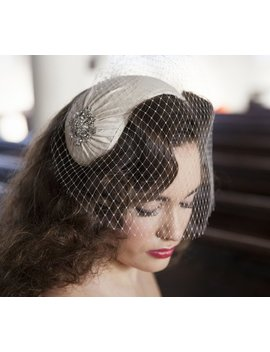 1950s Style Veil And Headpiece   Half Hat And Birdcage Veil  1940s Headpiece & Veil   White, Ivory, Champagne, Blush, Pink, Black by Etsy