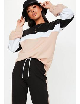 Nude Colourblock Co Ord Sweatshirt by Missguided