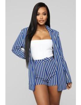 The Taylor Stripe Blazer   Royal/White by Fashion Nova