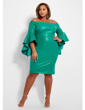 Faux Leather Off The Shoulder Dress by Ashley Stewart