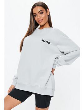 Playboy X Missguided Grey Magazine Print Crew Neck Sweatshirt by Missguided