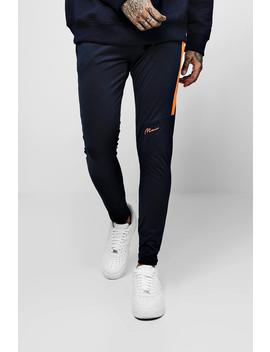 Tricot Super Skinny Man Joggers With Contrast Panel by Boohoo