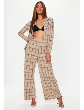 Stone Grid Co Ord Wide Leg Pants by Missguided