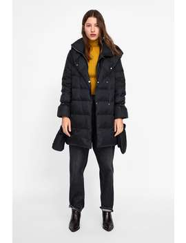 Down Coat With Wrap Collar  New Inwoman New Collection by Zara