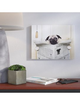 Wrought Studio 'pug Reading Newspaper In Bathroom' Graphic Art Print & Reviews by Wrought Studio