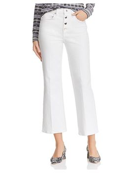 Justine High Rise Cropped Wide Leg Jeans In White by Rag & Bone/Jean