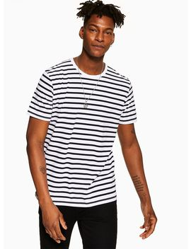 White And Navy Striped T Shirt by Topman
