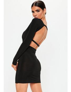 black-long-sleeve-open-back-dress by missguided