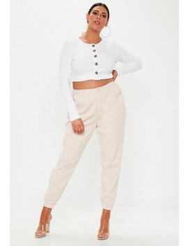 Plus Size Beige Combat Pants by Missguided