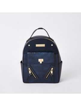 Navy Front Pocket Mini Backpack by River Island