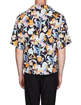 Floral Tech Satin Bowling Shirt by Prada