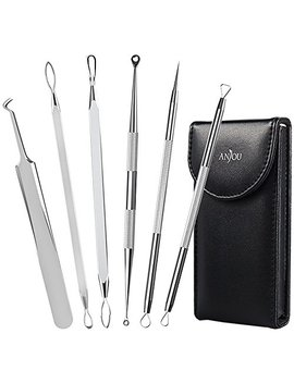 Anjou Blackhead Remover Comedone Extractor, Curved Blackhead Tweezers Kit, 6 In 1 Professional Stainless Pimple Acne Blemish Removal Tools Set by Anjou