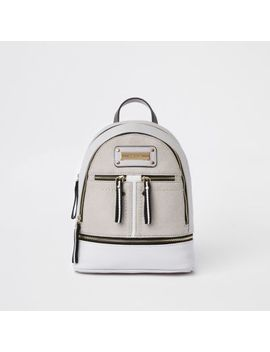 Grey Double Zip Front Backpack by River Island