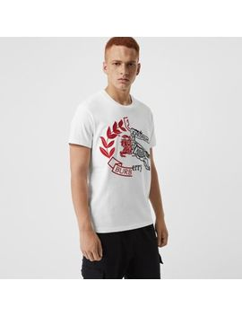 Contrast Crest Cotton T Shirt by Burberry