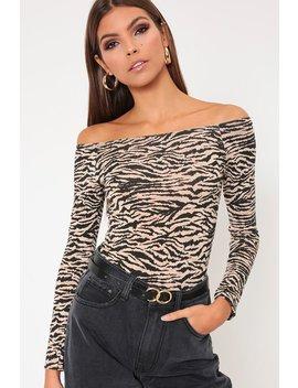 Orange Tiger Print Bardot Long Sleeve Bodysuit by I Saw It First