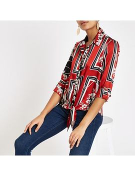 Red Scarf Print Tie Front Shirt by River Island