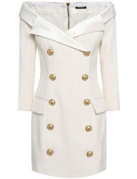 Satin Trimmed Wool Mini Dress by Balmain