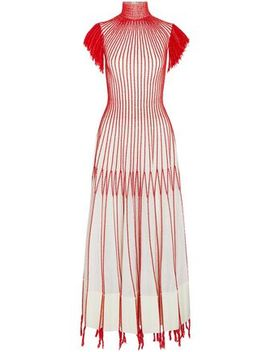 Tasseled Embroidered Plissé Silk Midi Dress by Alexander Mcqueen
