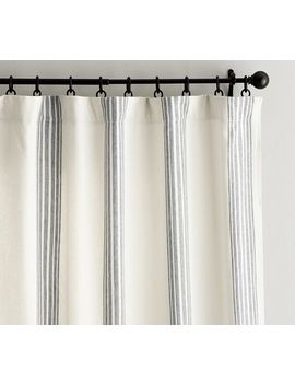 Riviera Stripe Curtain   Charcoal by Pottery Barn