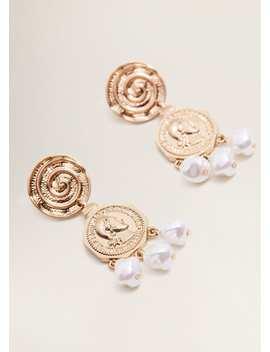 Coin Pendant Earrings by Mango