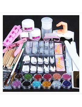 Pro 24 In 1 Acrylic Nail Art Tips Full Kit Set,Wondere Professional Nail Art Liquid Buffer Glitter Deco Tools,Acrylic Powder/Acrylic Liquild/Nail Glue/Tweezer/Cutter,Etc (24 Set) by Wondere