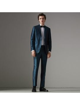 Soho Fit Geometric Silk Jacquard Suit by Burberry