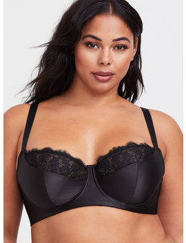 Black Satin & Lace Lightly Lined Demi Bra by Torrid