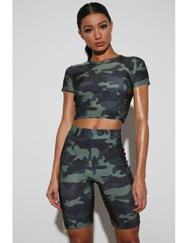 Camouflage Print Active Cycling Shorts by I Saw It First