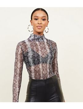Carpe Diem Grey Snake Print Fishnet Top by New Look