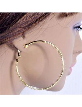 #C100 Non Pierced Clip On 6cm, 7cm, 8, 9cm Or 10cm Huge Big Circle Hoop Earrings by Ebay Seller