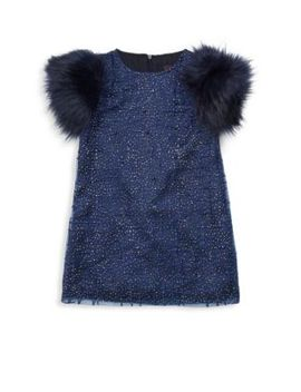 Little Girl's & Girl's Sage Faux Fur Sleeve Party Dress by Imoga