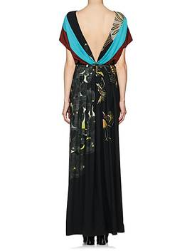 Colorblocked & Feather Print Maxi Dress by Dries Van Noten