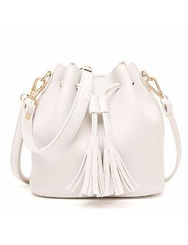 Urmiss Women Retro Fringe Tassel Bag Drawstring Bucket Faux Small Mini Shoulder Bag Messenger Bag (White) by Urmiss