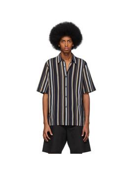 Navy Striped Clasen Shirt by Dries Van Noten