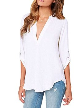 Roswear Women's Casual V Neck Cuffed Sleeves Solid Chiffon Blouse Top by Roswear