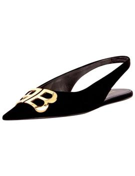 Black Bb Knife Velvet Flats by Balenciaga