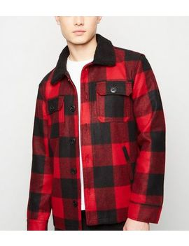 Red Check Borg Collar Shacket by New Look