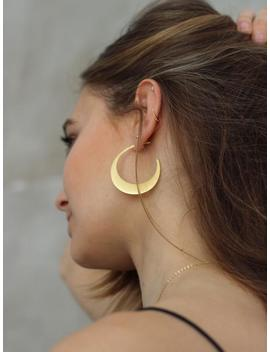 Half Moon Hoop Earrings, Crescent Moon Hoop Earrings, Large Gold Moon Hoop Earrings, Gold Crescent Moon Hoop Earrings by Etsy