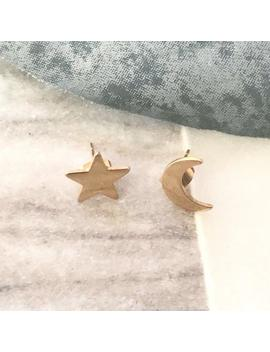 Gold Moon & Star Earrings   Mismatched Earrings, Gold Stud Earrings, Moon Star Stud Earrings, Crescent Earrings, Christmas Gift For Her by Etsy