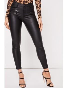 Arabella Black Wax Pu Zip Jeans by Misspap