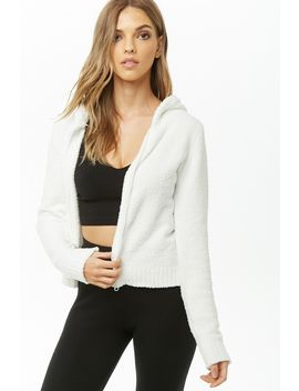 Terrycloth Zippered Hoodie by Forever 21