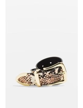 Snake Printed Leather Belt by Topshop