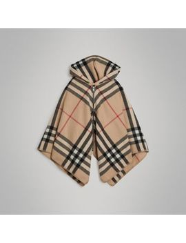 Check Wool Cashmere Hooded Poncho by Burberry