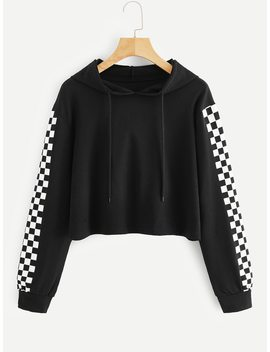 Checkered Sleeve Crop Hoodie by Romwe